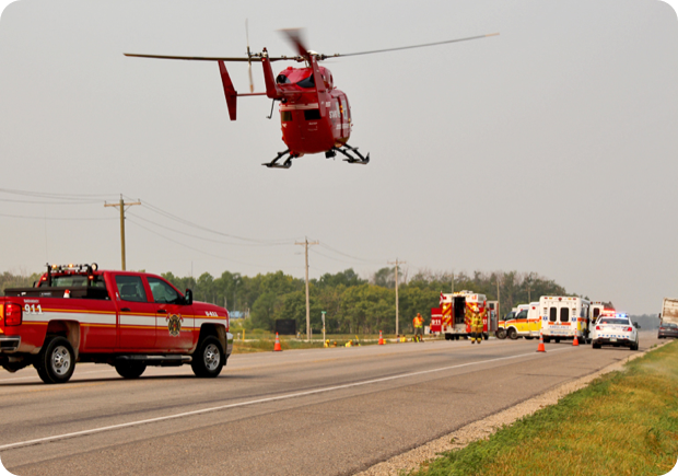 Medical vehicles at the scene of an accident